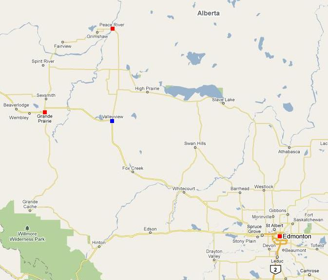 Map of Northern Alberta, Canada